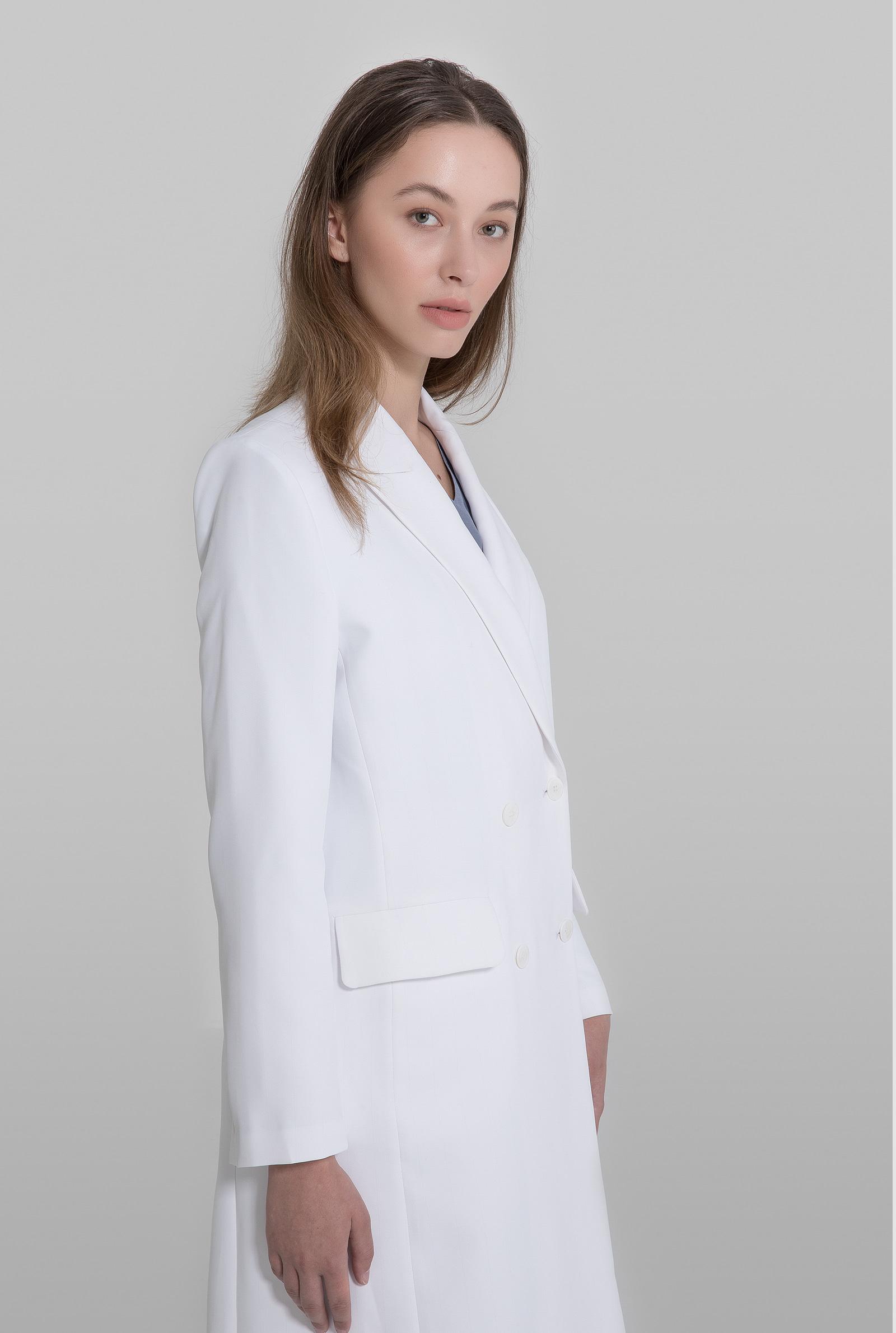 Double straight fit flap pocket lab womens coat - acmeci